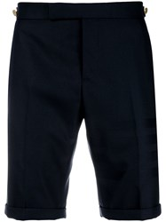 Thom Browne Sateen 4 Bar Skinny Fit Short Blue