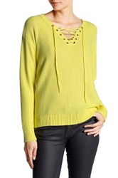 Cable And Gauge Lace Up Waffle Knit Sweater Yellow
