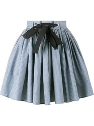 Miu Miu Stripe A Line Skirt Blue