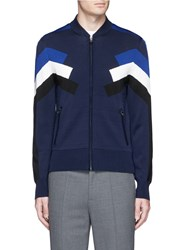 Neil Barrett 'Retro Modernist' Intarsia Zip Cardigan Blue