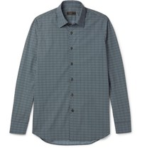 Prada Slim Fit Printed Cotton Shirt Blue
