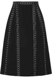 Altuzarra Steele Studded Satin Trimmed Crepe Skirt Black