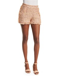 M Missoni Metallic Crochet Shorts W Fringe Trim Blush