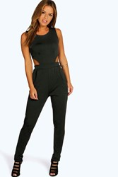 Boohoo Lynne Side Cut Out Skinny Leg Jumpsuit Black