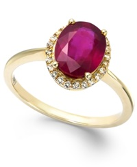 Macy's Ruby And White Sapphire Oval Ring In 10K Gold 2 1 4 Ct. T.W.