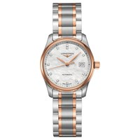 Longines L22575897 Women's Master Collection Automatic Date Diamond Two Tone Bracelet Strap Watch Silver Rose Gold