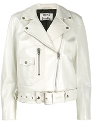 Acne Studios Relaxed Fit Biker Jacket White