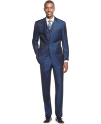 Sean John Blue Solid Vested Classic Fit Suit