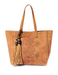 Steve Madden Embroidered Faux Leather Tote Saddle