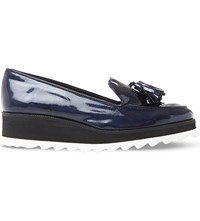 Dune Glazed Patent Leather Flatform Loafers Navy Leather