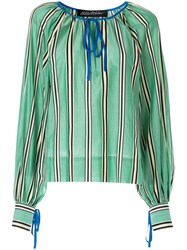 Anna October Tied Striped Blouse Green