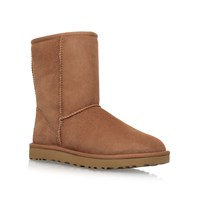 Ugg Short T Flat Fur Lined Boots Brown