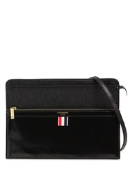 Thom Browne Lady Folio Grained And Smooth Leather Bag Black