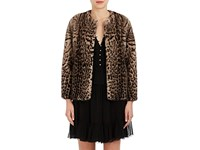 Lilly E Violetta Women's Katie Leopard Print Fur Jacket Brown Beige Tan