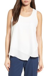 Nic Zoe Women's Promenade Asymmetrical Double Layer Tank Paper White