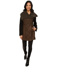 Sam Edelman Asymmetrical Faux Sherpa W Wool Sleeve And Color Block Jacket Olive Women's Coat