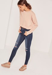 Missguided High Waisted Authentic Ripped Skinny Jeans Blue