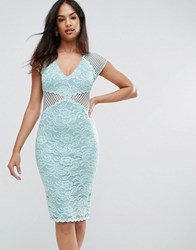 Ax Paris V Neck Mesh Lace Bodycon Midi Dress Green