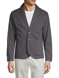 Saks Fifth Avenue Black Twill Notch Lapel Blazer Charcoal