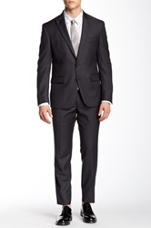 Kenneth Cole Two Button Notch Lapel Wool Suit Gray