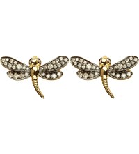 Annoushka Love Diamonds 18Ct Yellow Gold Dragonfly Earrings Silver