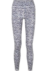 Varley Biona Leopard Print Stretch Leggings Gray