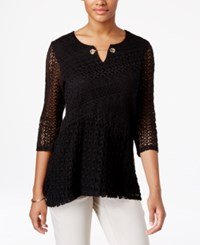 Jm Collection Crochet Tunic Only At Macy's Deep Black