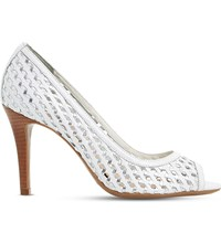 Dune Claudette Woven Lattice Leather Court Shoes White Leather