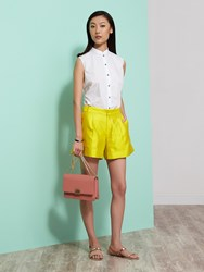 Shanghai Tang Silk Cotton Shorts With Cuff Yellow