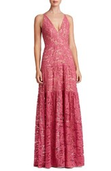 Dress The Population Women's Melina Lace Fit And Flare Maxi Magenta Lace