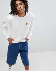 Brixton Fang Long Sleeve T Shirt With Sleeve Print White
