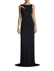 David Meister Shirred Jersey Gown Navy