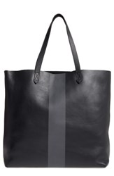 Madewell Paint Stripe Transport Leather Tote Black True Black Stripe