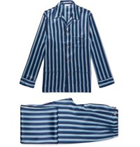 Derek Rose Brindisi Striped Silk Pyjama Set Navy