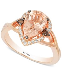 Le Vian Chocolatier Peach Morganite 1 1 3 Ct. T.W. And Diamond 1 5 Ct. T.W. Ring In 14K Rose Gold