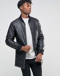 Bl7ck Longline Padded Jacket In Leather Look Black