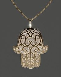 Bloomingdale's Diamond Hamsa Pendant Necklace In 14K Yellow Gold .90 Ct. T.W 18 No Color