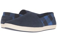 Toms Avalon Slip On Navy Suede Buffalo Plaid Men's Slip On Shoes