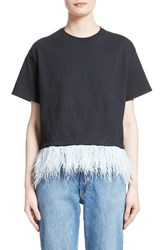 Opening Ceremony Women's Feather Trim Crop Tee Black