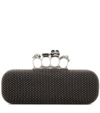Alexander Mcqueen Knuckle Embellished Suede Box Clutch Black