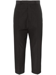 Rick Owens Cropped Stripe Wool Blend Trousers Black