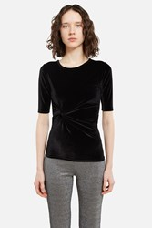 Ann Sofie Back Twisted Velour T Shirt Black