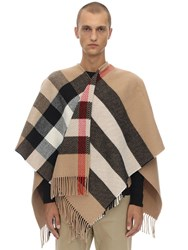 Burberry Oversize Check Wool And Cashmere Cape Camel