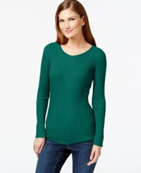 Inc International Concepts Ribbed Crew Neck Sweater Only At Macy's Emerald Shadow