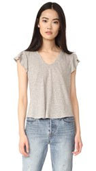 La Vie Rebecca Taylor Short Sleeve Ruffle Tee Grey Heather