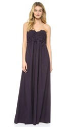 Msgm Strapless Ruched Maxi Dress Plum