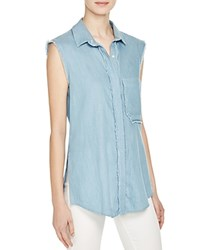 N Nicholas Chambray Sleeveless Shirt Light Blue