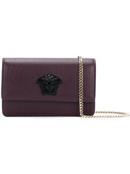 Versace Palazzo Medusa Evening Clutch Leather Red