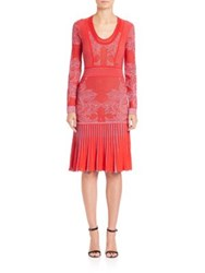 Just Cavalli Knit Pleated Floral Dress