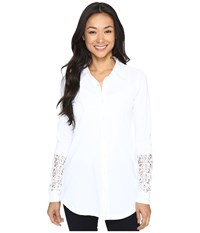 Mod O Doc Classic Jersey Long Sleeve Shirt W Lace Insets White Women's Clothing